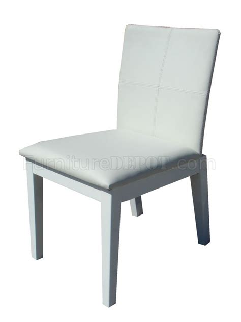 white leatherette set of 4 modern dining chairs w wooden legs