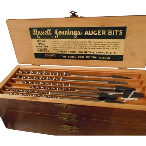 antique russell jennings auger bits  original wood chest