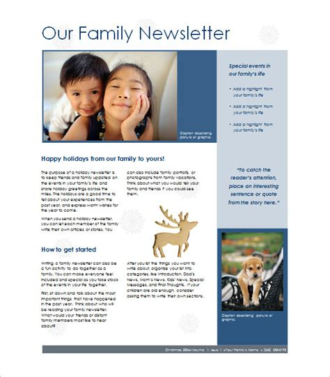 Free Christian Newsletter Templates by 7 Family Newsletter Templates Free Word Documents