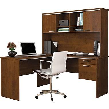 bureau ordinateur en coin bestar bureau flare en l avec étagère brun toscane