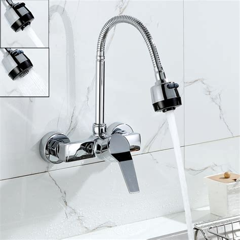 Wall Mounted Kitchen Faucet With Sprayer by Wall Mounted Dual Sprayer Kitchen Faucet Single Handle