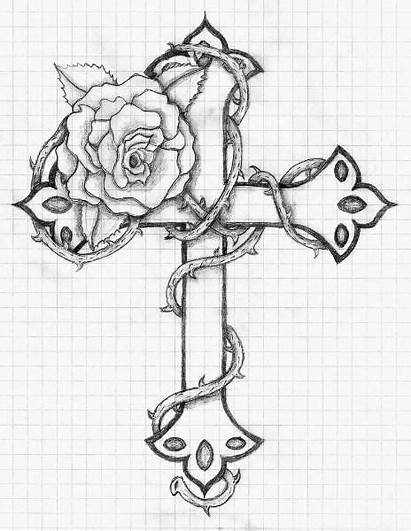 Tattoo Snake Drawings Thorns Designs Cross Drawing