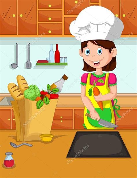 dessin animé de cuisine cuisinier de dessin animé mignon maman dans la cuisine