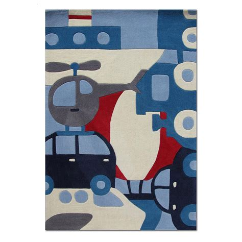 tapis enfant voyage bleu art for kids 110x160