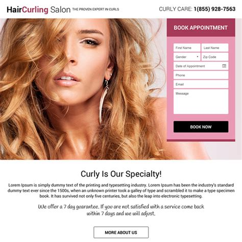 hair care landing page design templates  capture leads