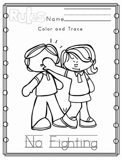 Rules Classroom Preschool Coloring Pages Manners Clipart