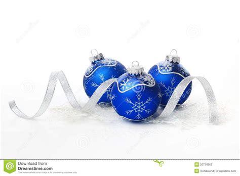 blue christmas balls with ribbon stock photos image