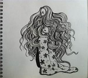 Lonely girl (Ink drawing)... by Nichapon on DeviantArt