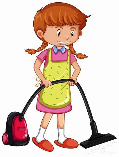 Vacuum Vacuuming Cleaner Floor Vector Clipart Illustration