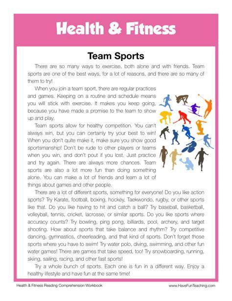 Reading Comprehension Worksheet  Team Sports