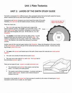 Unit 1 Plate Tectonics Unit 2  Layers Of The Earth Study