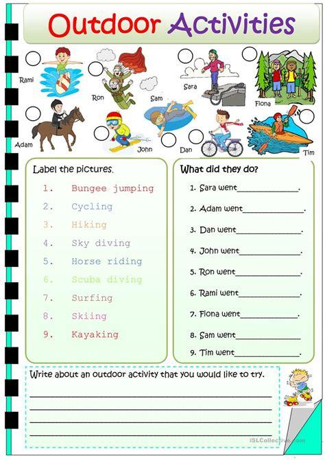 outdoor activites english esl worksheets  distance
