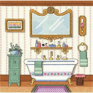 Janlynn victorian bath cross stitch kit 006 0100 for Bathroom cross stitch patterns free