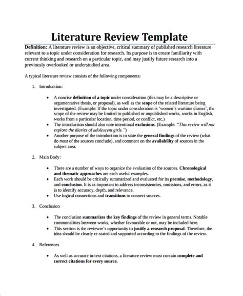 sample literature review templates   ms word