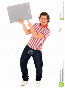 Man Holding Blank Poster Stock Photo - Image: 11767780