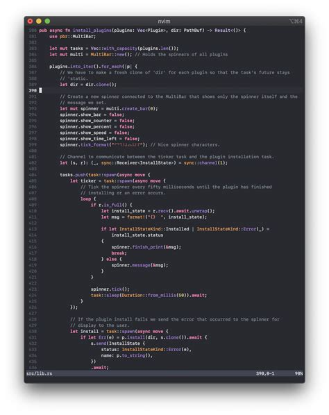 rust vim syntax ext using plugin screenshot