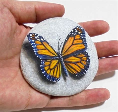 Butterfly And Stones by Painting Monarch Butterfly Is Painted On