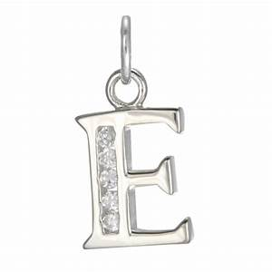 sterling silver crystal alphabet letter e charm With letter e charm