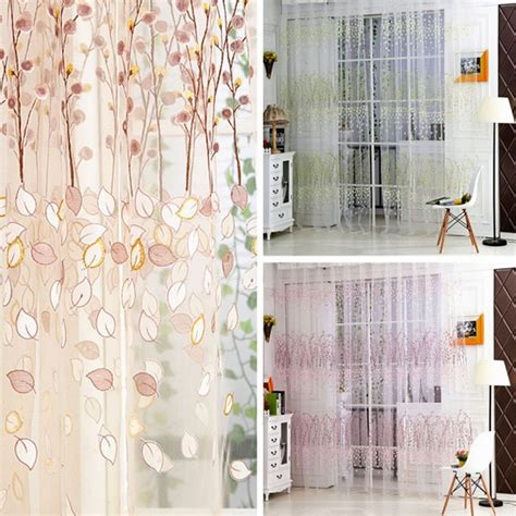 free shipping floral print tulle voile curtains door