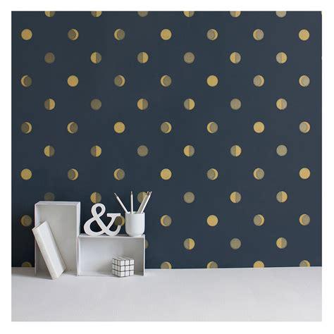 papier peint croissants de lune encre bleu nuit bleu nuit
