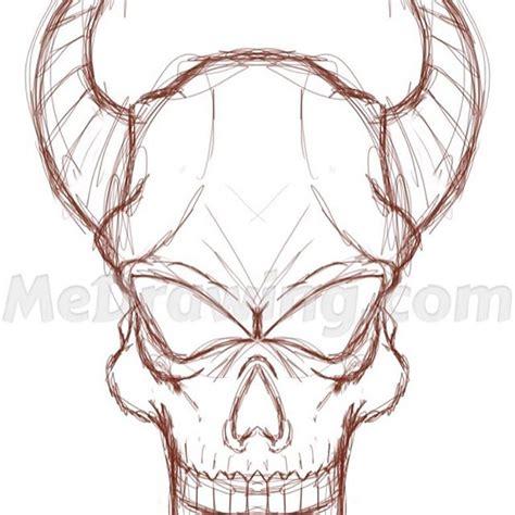 horned devil skull pencil sketch