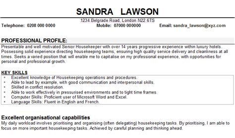 Professional Housekeeping Supervisor Resume by Housekeeper Cv Sle
