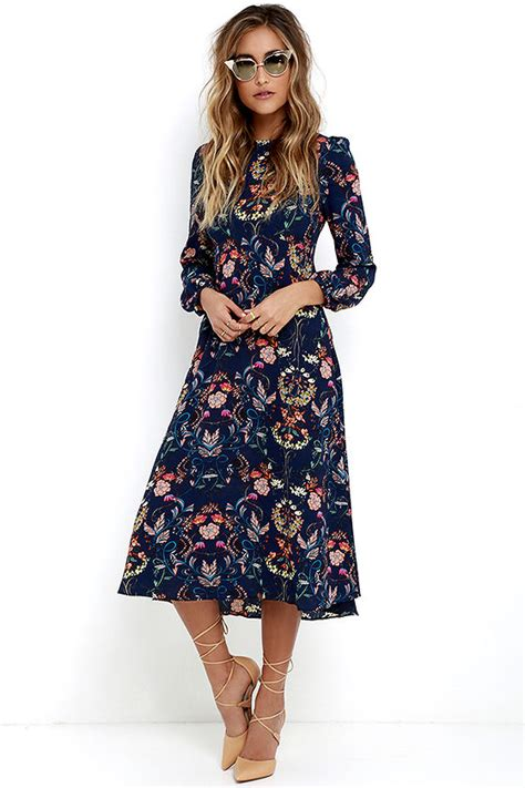 boho midi dress navy blue dress floral print dress
