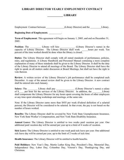 Library director yearly employment contract template in Word and Pdf formats