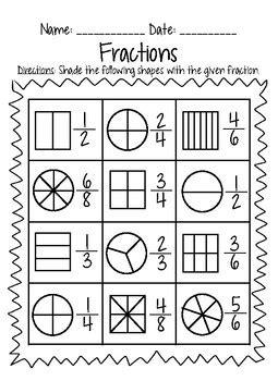 grade fraction practice     grade  tpt