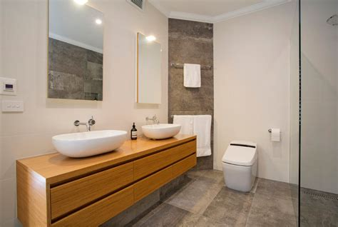 Twin Vanities On Timber Joinery  Contemporary Bathroom