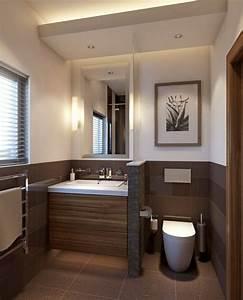 Kleines Wc Fliesen : kleines badezimmer trennwand waschkonsole holz toilette braun fliesen bad pinterest design ~ Markanthonyermac.com Haus und Dekorationen