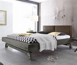 Bett Industrial Design : massivholz bett in grau aus akazie salo ~ Sanjose-hotels-ca.com Haus und Dekorationen
