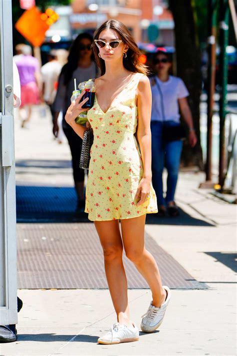 emily ratajkowski wears a yellow mini-dress while walking ...