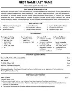 exle resume for network administrator top student resume templates sles