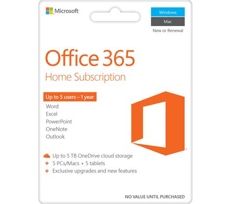 Office 365 Year by Buy Microsoft Office 365 Home 1 Year For 5 Users