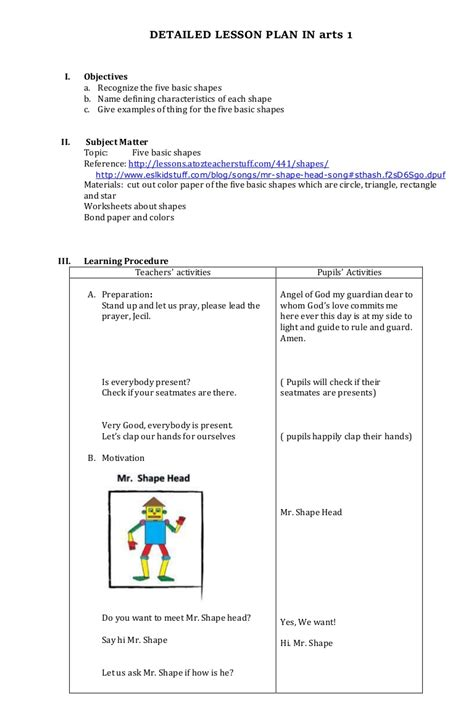 mapeh arts lesson plan  grade