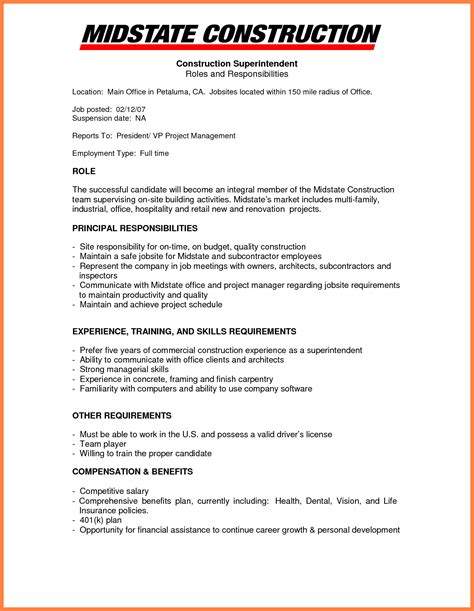 Office Manager Resume Sle by 9 Construction Company Resume Template Company Letterhead