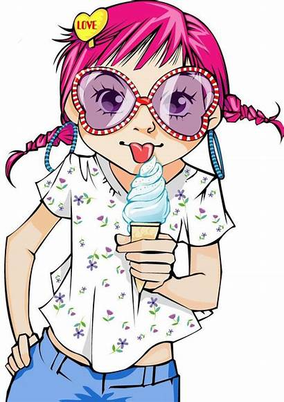 Cartoon Glasses Characters Anime Gambar Cream Mewarnai