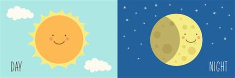 concepto de los personajes de dibujos animados sun y de la d 237 a y noche ilustraci 243 n