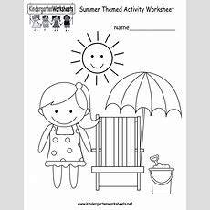 Kindergarten Summer Themed Activity Worksheet Printable  Summer Worksheets  Pinterest Summer