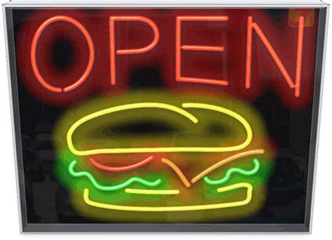 outdoor burger open neon sign fg   od jantec neon