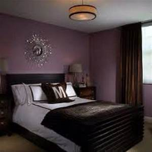 deep purple bedroom wall color with silver/chrome accents ...