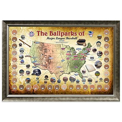 Major League Baseball Parks Map 20 Inch x 32 Inch Framed