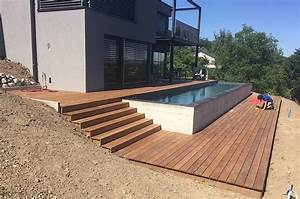Terrasse En Bois Ip Et Entourage Piscine Avec Escalier