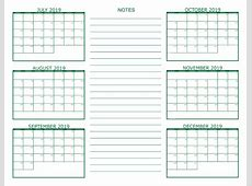 Free Printable 6 Month Calendar 2018 19 Download