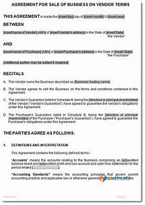 Sale of business on vendors terms agreement template for Vendor terms and conditions template
