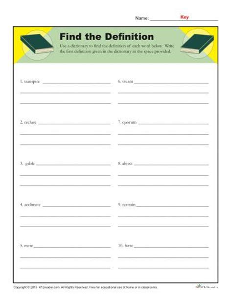 dictionary skills worksheets find the definition