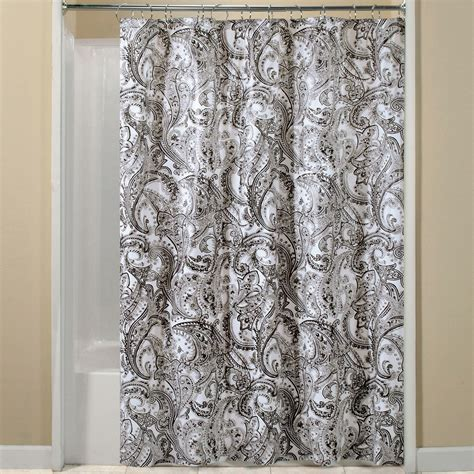 essential home shower curtain black paisley vinyl peva