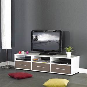 meuble tv contemporain coloris blanc taupe scoty meuble With meuble taupe et blanc