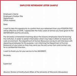 retirement letter samples examples formats writing guide With retirement letter from employer to employee template
